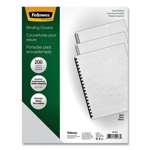 Classic Grain Texture Binding System Covers, 11-1/4 x 8-3/4, White, 200/Pack. Picture 1