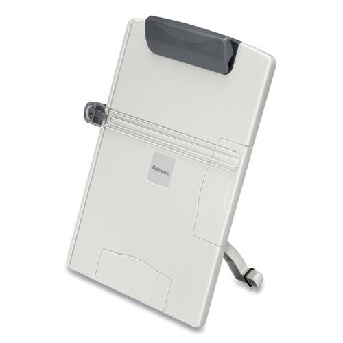 Desktop Easel-Style Copyholder, Plastic, 150 Sheet Capacity, Platinum/Gray. Picture 1