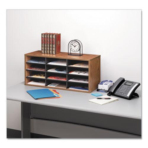 Particle Board Desktop Sorter, 12 Section, 29 x 11 7/8 x 12 15/16, Medium Oak. Picture 2