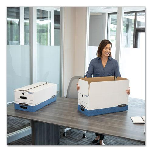"""LIBERTY Heavy-Duty Strength Storage Boxes, Legal Files, 15.25"""" x 24.13"""" x 10.75"""", White/Blue, 4/Carton. Picture 3"""