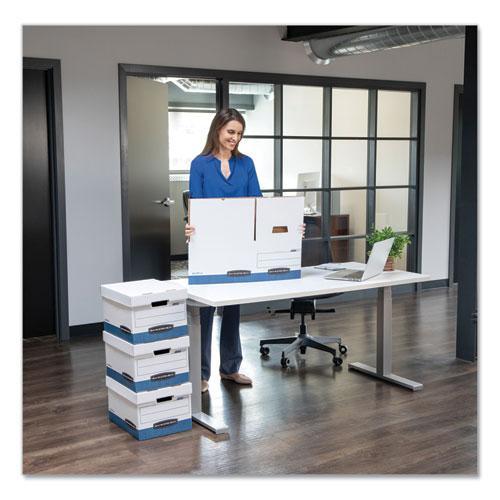 "STOR/FILE Medium-Duty Storage Boxes, Legal Files, 15.88"" x 25.38"" x 10.25"", White/Blue, 12/Carton. Picture 2"