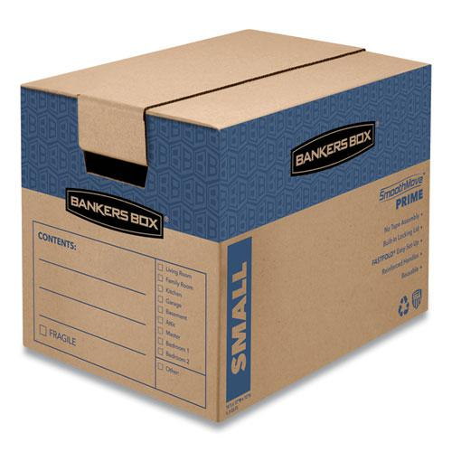 "SmoothMove Prime Moving/Storage Boxes, Small, Regular Slotted Container (RSC), 16"" x 12"" x 12"", Brown Kraft/Blue, 10/Carton. Picture 1"