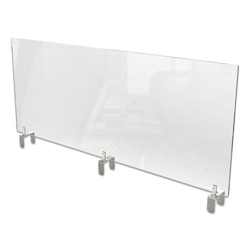Clear Partition Extender with Attached Clamp, 48 x 3.88 x 30, Thermoplastic Sheeting. Picture 1