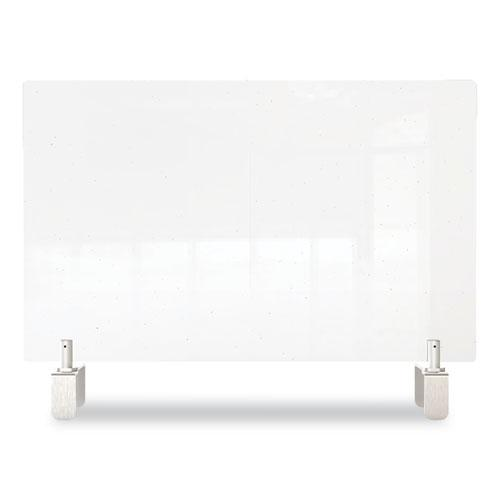 Clear Partition Extender with Attached Clamp, 42 x 3.88 x 18, Thermoplastic Sheeting. Picture 3