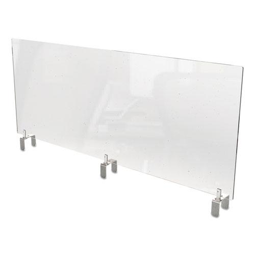 Clear Partition Extender with Attached Clamp, 48 x 3.88 x 18, Thermoplastic Sheeting. Picture 1
