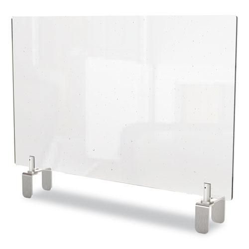 Clear Partition Extender with Attached Clamp, 29 x 3.88 x 30, Thermoplastic Sheeting. Picture 1