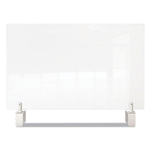 Clear Partition Extender with Attached Clamp, 29 x 3.88 x 30, Thermoplastic Sheeting. Picture 3