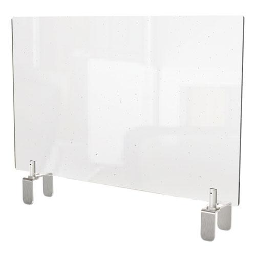 Clear Partition Extender with Attached Clamp, 42 x 3.88 x 18, Thermoplastic Sheeting. Picture 1