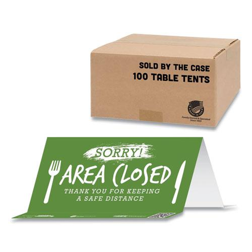 BeSafe Messaging Table Top Tent Card, 8 x 3.87, Sorry! Area Closed Thank You For Keeping A Safe Distance, Green, 100/Carton. Picture 1