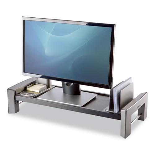 """Professional Series Flat Panel Workstation, 25.88"""" x 11.5"""" x 2.5"""" to 4.5"""", Black/Silver, Supports 40 lbs. Picture 1"""