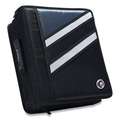 """Z-System 2-in-1 Zipper Binder, 3 Rings (x2), 1.5"""" Capacity (x2), 11 x 8.5, Black/Gray Accents. Picture 1"""