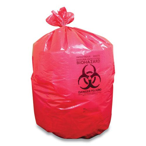 """Biohazard Can Liners, 45 gal, 40"""" x 46"""", Red, 200/Carton. Picture 1"""