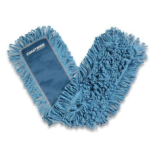 Looped-End Dust Mop Head, Cotton, 36 x 5, Blue. Picture 1