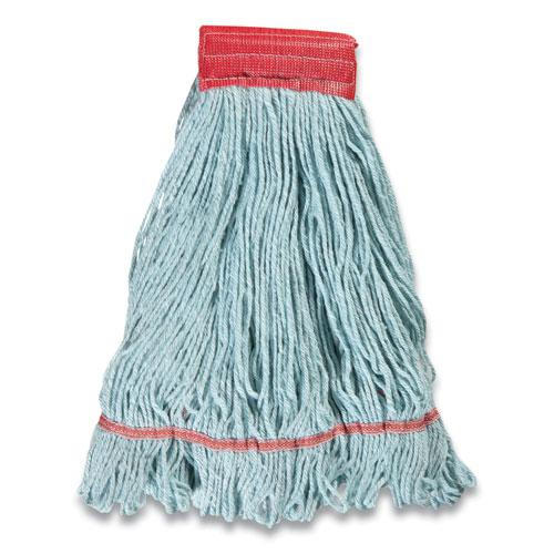 """Looped-End Wet Mop Head, PET/Rayon Blend, Large, 5"""" Headband, Blue. Picture 2"""