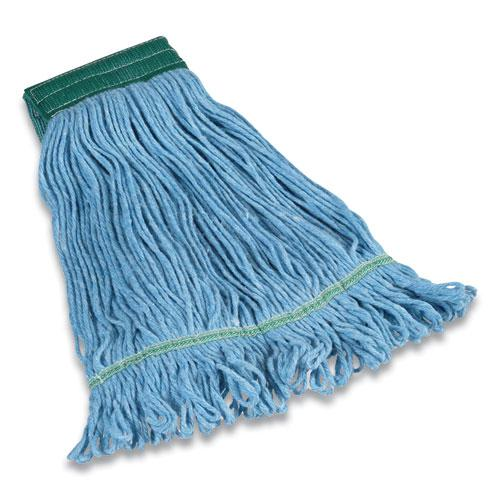 """Looped-End Wet Mop Head, Cotton/Rayon/Polyester Blend, Medium, 5"""" Headband, Blue. Picture 1"""