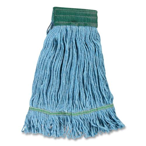 """Looped-End Wet Mop Head, Cotton/Rayon/Polyester Blend, Medium, 5"""" Headband, Blue. Picture 2"""