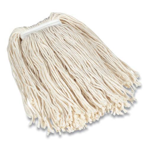 "Cut-End Wet Mop Head, Cotton, #32, 1"" Headband, White. Picture 1"