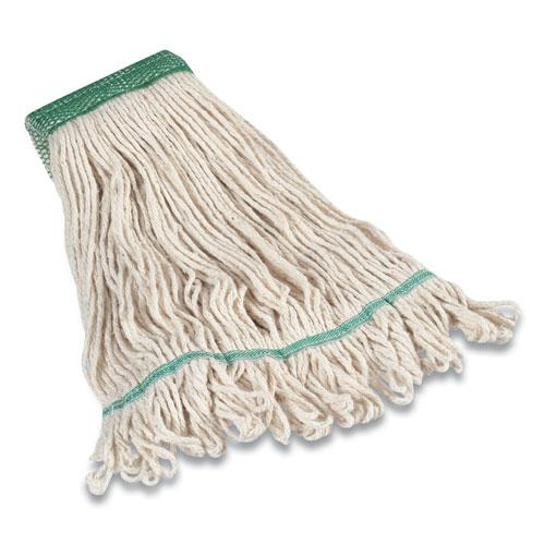 """Looped-End Wet Mop Head, Cotton, Medium, 5"""" Headband, White. Picture 1"""
