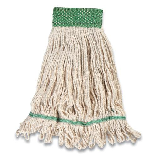 """Looped-End Wet Mop Head, Cotton, Medium, 5"""" Headband, White. Picture 2"""
