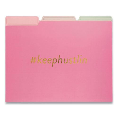 Fashion File Folders, 1/3-Cut Tabs, Letter Size, Hashtag Assortment, 9/Pack. Picture 3