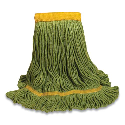 """1400 Series Mop Head, Cotton/Rayon/Synthetic Blend, Large, 5"""" Headband, Green. Picture 1"""