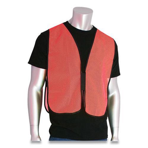 Hook and Loop Safety Vest, Hi-Viz Orange, One Size Fits Most. Picture 2