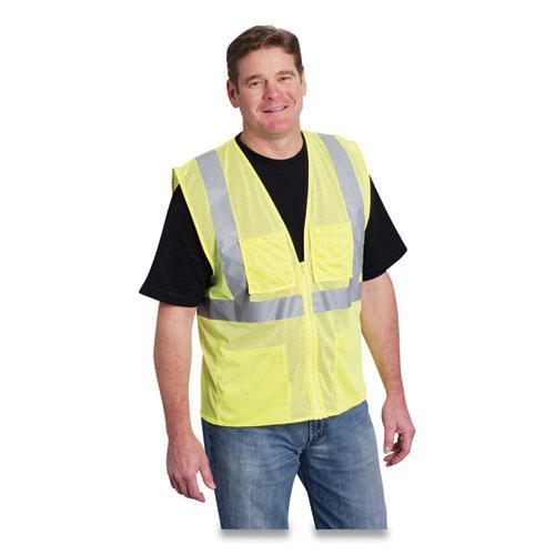 ANSI Class 2 Four Pocket Zipper Safety Vest, Polyester Mesh, Hi-Viz Lime Yellow, X-Large. Picture 1