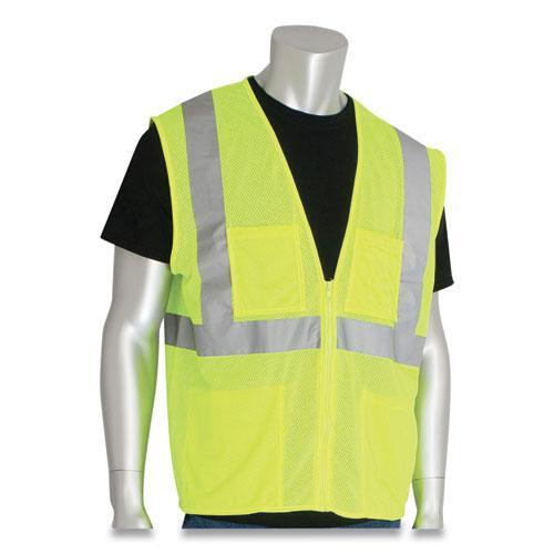 ANSI Class 2 Four Pocket Zipper Safety Vest, Polyester Mesh, Hi-Viz Lime Yellow, X-Large. Picture 2