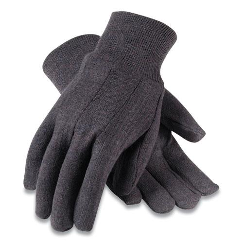 Polyester/Cotton Jersey Gloves, Men's, Brown, 12 Pairs. Picture 1