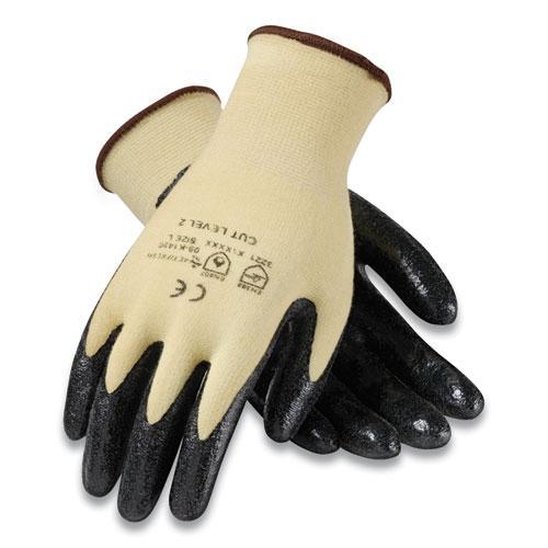 KEV Seamless Knit Kevlar Gloves, X-Large, Yellow/Black, 12 Pairs. Picture 1