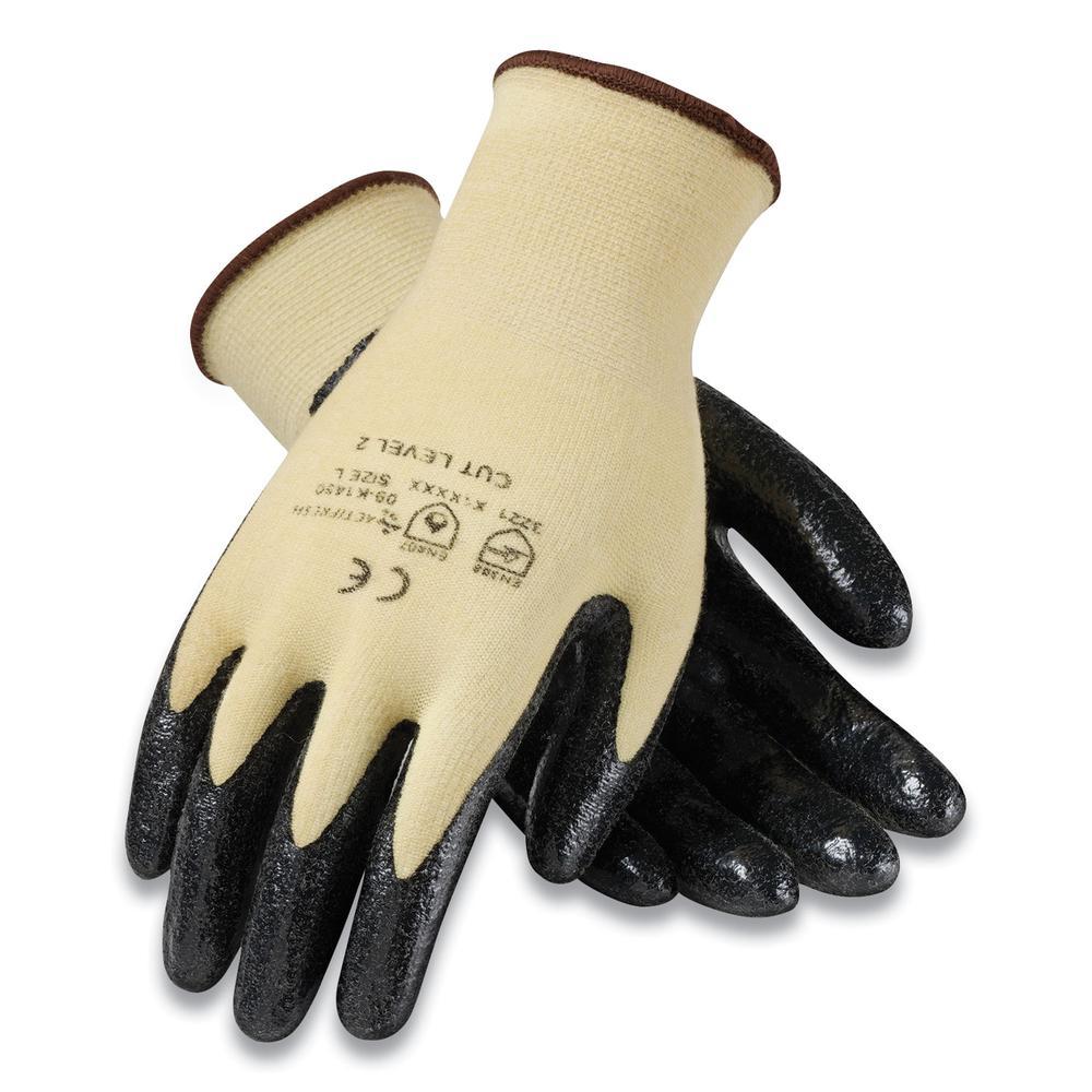 KEV Seamless Knit Kevlar Gloves, Large, Yellow/Black, 12 Pairs. Picture 1