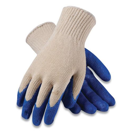 Seamless Knit Cotton/Polyester Gloves, Regular Grade, X-Large, White/Blue, 12 Pairs. Picture 1