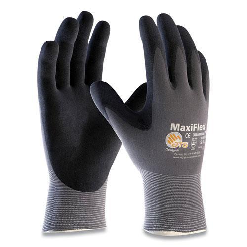 Endurance Seamless Knit Nylon Gloves, X-Large, Gray/Black, 12 Pairs. Picture 1