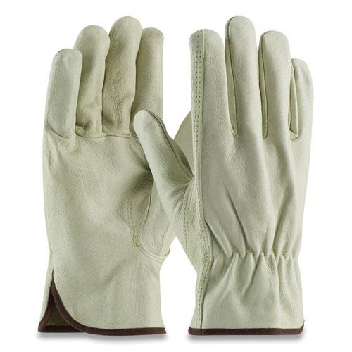 Top-Grain Pigskin Leather Drivers Gloves, Economy Grade, Large, Gray. Picture 1