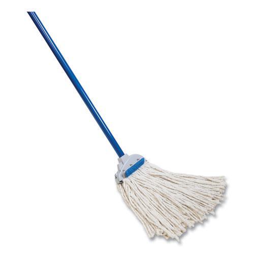 "Super Scrubber Wet Mop, White Cotton Head, 48"" Blue Powder Coated Steel Handle. Picture 1"