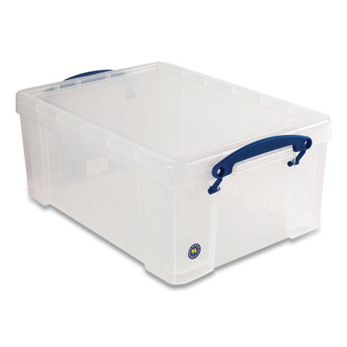 """Snap-Lid Storage Bin, 2.37 gal, 10.25"""" x 14.5"""" x 6.25"""", Clear/Blue, 4/Pack. Picture 1"""
