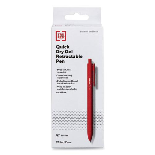 Quick Dry Gel Pen, Retractable, Medium 0.7 mm, Red Ink, Red Barrel, Dozen. Picture 1