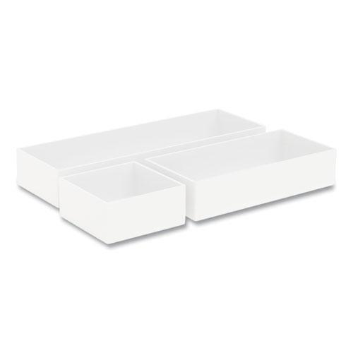 Three-Piece Plastic Drawer Organizer, 3.23 x 3.23 x 1.47, 6.26 x 3.23 x 1.47, 9.5 x 3.23 x 1.47, White, 3/Set. Picture 2