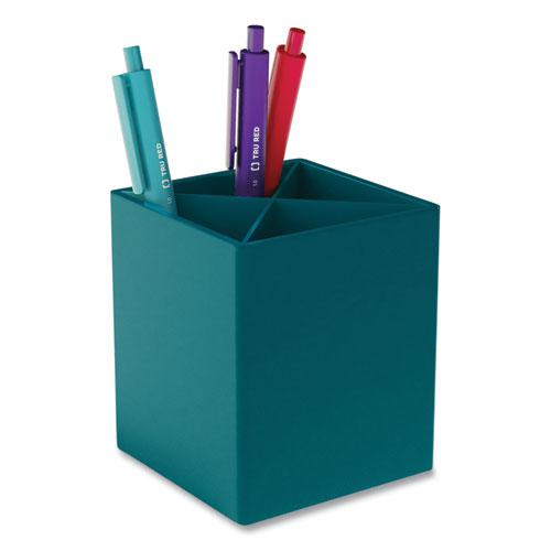 Divided Plastic Pencil Cup, 3.31 x 3.31 x 3.87, Teal. Picture 1