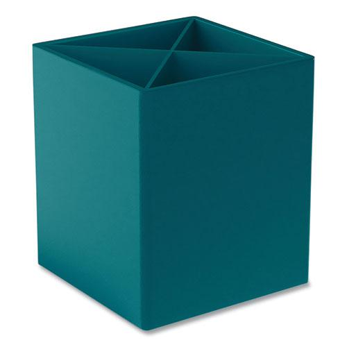 Divided Plastic Pencil Cup, 3.31 x 3.31 x 3.87, Teal. Picture 2