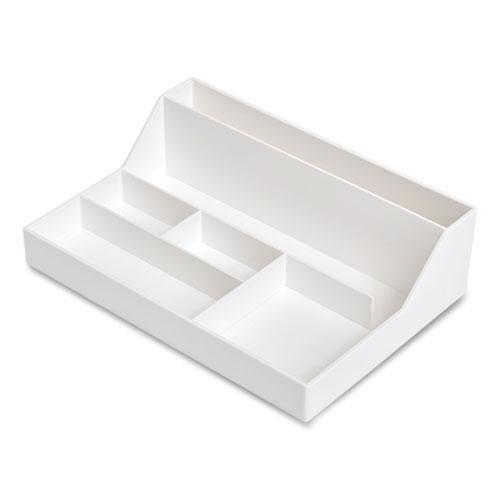 Plastic Desktop Organizer, 6-Compartment, 6.81 x 9.84 x 2.75, White. Picture 1