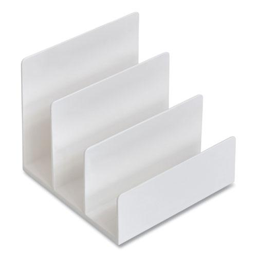 Plastic Incline Mail Sorter, 3 Sections, Letter Size Files, 6.3 x 6.3 x 5.5, White. Picture 2