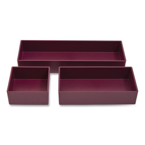 Three-Piece Plastic Drawer Organizer, 3.23 x 3.23 x 1.47, 6.26 x 3.23 x 1.47, 9.5 x 3.23 x 1.47, Purple, 3/Set. Picture 2