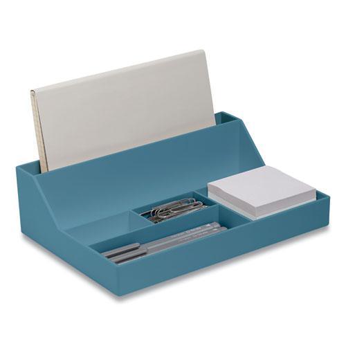 Plastic Desktop Organizer, 6-Compartment, 6.81 x 9.84 x 2.75, Teal. Picture 1
