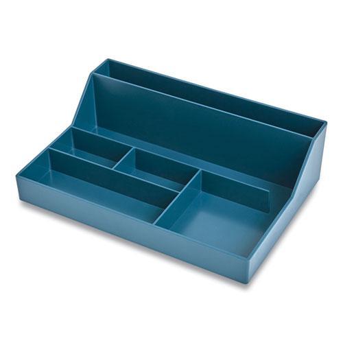 Plastic Desktop Organizer, 6-Compartment, 6.81 x 9.84 x 2.75, Teal. Picture 2