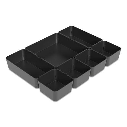 Ten-Compartment Plastic Drawer Organizer, 7.83 x 8.19 x 5.35, Black. Picture 2