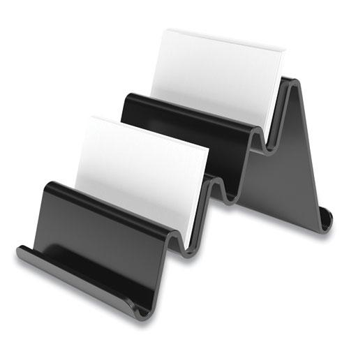 Four Compartment Business Card Holder, Holds 100 Cards, 3.9 x 6.3 x 4, Plastic, Black. Picture 1