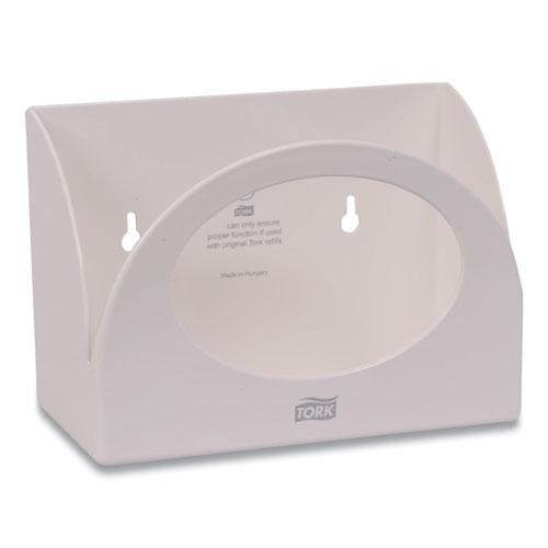 Small Bracket Wiper Dispenser, 8.42 x 4.22 x 5.74, White. Picture 1
