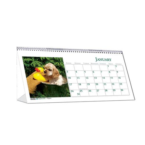 Recycled Puppy Photos Desk Tent Monthly Calendar, 8.5 x 4.5, 2021. Picture 2