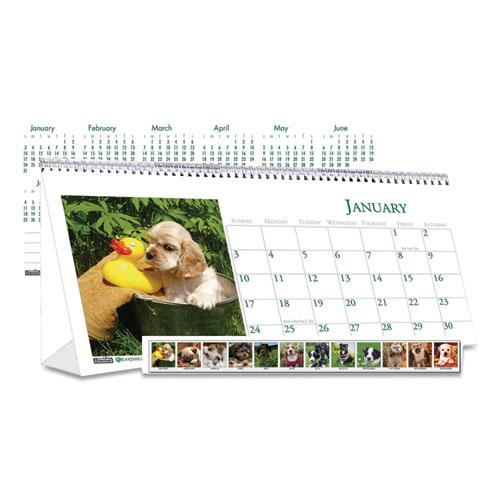 Recycled Puppy Photos Desk Tent Monthly Calendar, 8.5 x 4.5, 2021. Picture 1